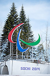 Sochi, RUSSIA - Mar 8 2014 -  The Agitos (paralympic logo) at the Laura Nordic Centre 2014 Paralympic Winter Games in Sochi, Russia.  (Photo: Matthew Murnaghan/Canadian Paralympic Committee)