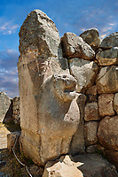 Picture & image of the Hittite lion sculpture of the Lion Gate. Hattusa (also Ḫattuša or Hattusas) late Anatolian Bronze Age capital of the Hittite Empire. Hittite archaeological site and ruins, Boğazkale, Turkey.