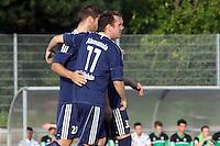 Jubel Eric Wischang, Lars Weingärtner und Niklas Schneider (Waldalgesheim) - SV Alem. Waldalgesheim trifft in der 1. Runde des DFB-Pokal auf Bayer Leverkusen und spielt gegen Ingelheim den Saisonauftakt
