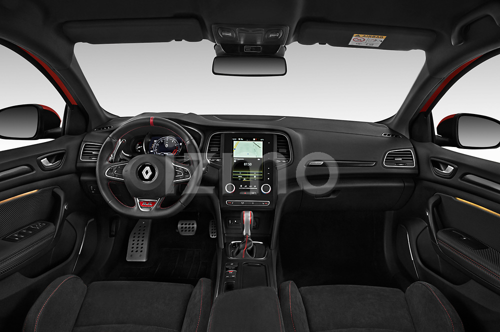 Stock photo of straight dashboard view of a 2018 Renault Megane R.S. base 5 Door Hatchback