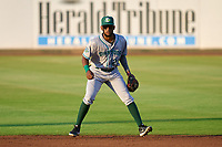 Daytona Tortugas second baseman Reyny Reyes (29) during a game against the Bradenton Marauders on June 9, 2021 at LECOM Park in Bradenton, Florida.  (Mike Janes/Four Seam Images)