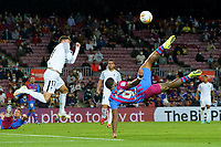 20th September 2021; Nou Camp, Barcelona, Spain; La Liga football league;  FC Barcelona versus Granada;   Menphys Depay with an overhead shot on goal