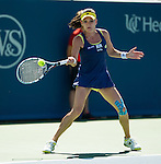 Caroline Wozniacki (DEN) advances against Agnieszka Radwanska (POL) by 64 76(5) at the Western & Southern Open in Mason, OH on August 15, 2014.