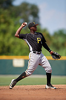 Pittsburgh Pirates Rodolfo Castro (6) throws to first base during an Instructional League intrasquad black and gold game on September 28, 2017 at Pirate City in Bradenton, Florida.  (Mike Janes/Four Seam Images)