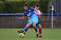 Charlie Edwards of Wingate & Finchley and Brad Santos of Lewes during Wingate & Finchley vs Lewes, Pitching In Isthmian League Premier Division Football at the Maurice Rebak Stadium on 3rd October 2020