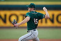 Greensboro Grasshoppers starting pitcher Quinn Priester (15) in action against the Winston-Salem Dash at Truist Stadium on August 13, 2021 in Winston-Salem, North Carolina. (Brian Westerholt/Four Seam Images)