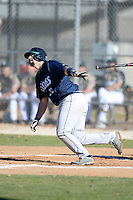 Upper Iowa University Peacocks first baseman John Dobson (12) during a game against Slippery Rock University at Frank Tack Field on March 14, 2014 in Clearwater, Florida.  Slippery Rock defeated Upper Iowa 14-9.  (Mike Janes/Four Seam Images)