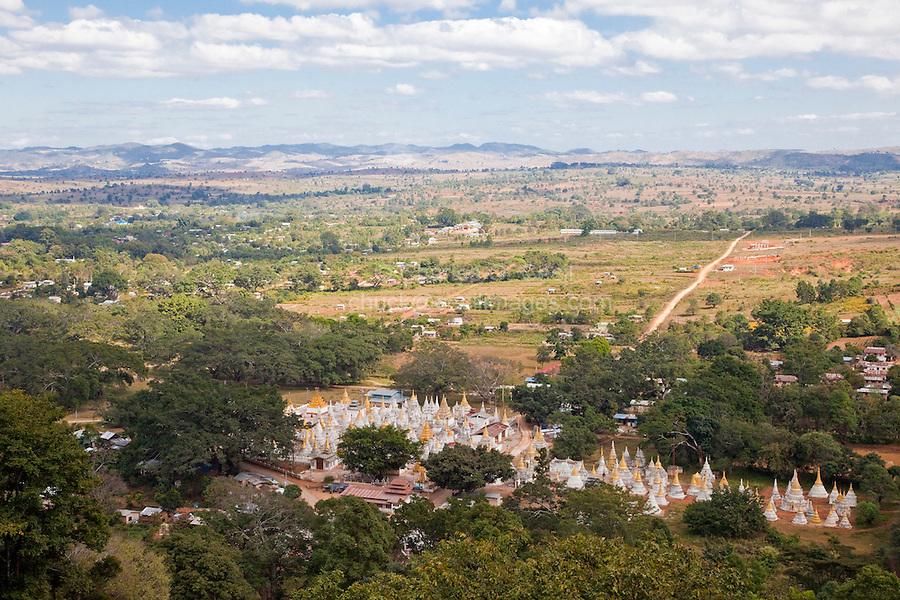 Myanmar, Burma.  Scenic View from Shwe Oo Min Pagoda, Pindaya, Shan State.