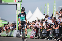 stage winner Gregor Mühlberger (AUT/Bora Hansgrohe) crossing the finish line .<br /> <br /> Binckbank Tour 2018 (UCI World Tour)<br /> Stage 6: Riemst (BE) - Sittard-Geleen (NL) 182,2km