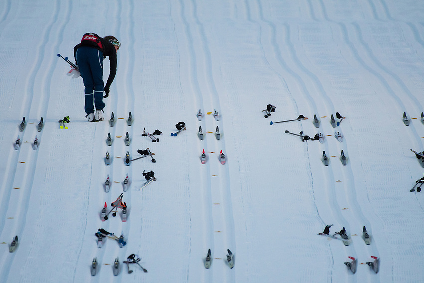 Skis are placed at starting marks before the Women's 20k Classic during the 2018 U.S. National Cross Country Ski Championships at Kincaid Park in Anchorage.