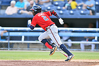 Rome Braves Michael Harris (2) runs to first base during  game against the Asheville Tourists at McCormick Field on August 13, 2019 in Asheville, North Carolina. The Braves defeated the Tourists 13-8. (Tony Farlow/Four Seam Images)