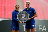 29th August 2020; Wembley Stadium, London, England; Community Shield Womens Final, Chelsea versus Manchester City; Goal scorers Millie Bright and Erin Cuthbert of Chelsea Women celebrate with the Community Shield