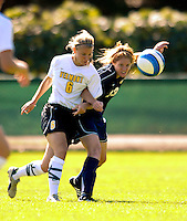 2 September 2007: University of Vermont Catamounts' Sasha Morey (6), a Freshman from Cincinnati, OH, battles George Washington University Colonials' Kerry Philbin (13), a Junior from Herndon, VA at Historic Centennial Field in Burlington, Vermont. The Colonials rallied to defeat the Catamounts 2-1 in overtime during the TD Banknorth Soccer Classic...Mandatory Photo Credit: Ed Wolfstein Photo