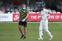 Nottinghamshire batsman Joe Clarke retires hurt during Essex CCC vs Nottinghamshire CCC, LV Insurance County Championship Group 1 Cricket at The Cloudfm County Ground on 3rd June 2021