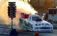 Jan 21, 2007; Las Vegas, NV, USA; NHRA Funny Car driver John Force does a burnout during preseason testing at The Strip at Las Vegas Motor Speedway in Las Vegas, NV. Mandatory Credit: Mark J. Rebilas