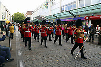 Pictured: The Welsh Guards parade through Oxford Street in Swansea.  Friday 15 September 2017<br />