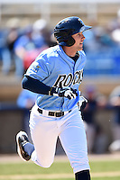 Wilmington Blue Rocks outfielder Daniel Rockett (14) runs to first during a game against the Myrtle Beach Pelicans on April 27, 2014 at Frawley Stadium in Wilmington, Delaware.  Myrtle Beach defeated Wilmington 5-2.  (Mike Janes/Four Seam Images)