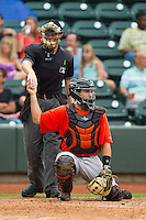 Home plate umpire Junior Valentine hands a new baseball to Frederick Keys catcher Allan de San Miguel (11) during the Carolina League game against the Winston-Salem Dash at BB&T Ballpark on July 21, 2013 in Winston-Salem, North Carolina.  The Dash defeated the Keys 3-2.  (Brian Westerholt/Four Seam Images)