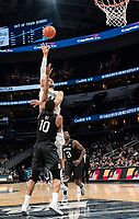 WASHINGTON, DC - JANUARY 28: Omer Yurtseven #44 of Georgetown shoots over Bryce Nze #10 of Butler during a game between Butler and Georgetown at Capital One Arena on January 28, 2020 in Washington, DC.