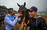 ARCADIA, CA - MARCH 10: Elated grooms with Blot d'ora after the San Felipe Stakes at Santa Anita Park on March 10, 2018 in Arcadia, California.(Photo by Alex Evers/Eclipse Sportswire/Getty Images)