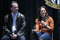 INDIANAPOLIS, IN - January 18, 2013: 1999 World Cup captain Julie Foudy with 1991 World Cup coach Anson Dorrance. U.S. Soccer hosted a World Cup Coaches and Captains panel at the Indiana Convention Center in Indianapolis, Indiana during the NSCAA Annual Convention.