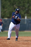 Milwaukee Brewers Tyrone Perry Jr (46) during an instructional league game against the Cleveland Indians on October 8, 2015 at the Maryvale Baseball Complex in Maryvale, Arizona.  (Mike Janes/Four Seam Images)