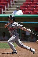 Ryan LaPansee #13 of the Visalia Rawhide bats against the High Desert Mavericks at Stater Bros. Stadium on May 16, 2012 in Adelanto,California. (Larry Goren/Four Seam Images)