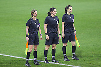 Assistant referee Lucie Ratajova, referee Olga Zadinova and assistant referee Nikola Sfrankova pictured before a female soccer game between PSV Eindhoven Vrouwen and Barcelona, in the round of 32, 1st leg of Uefa Womens Champions League of the 2020 - 2021 season , Wednesday 9th of December 2020  in , Eindhoven, the Netherlands. PHOTO SPORTPIX.BE | SPP | SEVIL OKTEM