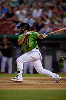 Kane County Cougars Eddie Hernandez (14) at bat during a Midwest League game against the Dayton Dragons on July 20, 2019 at Northwestern Medicine Field in Geneva, Illinois.  Dayton defeated Kane County 1-0.  (Mike Janes/Four Seam Images)