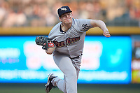 Scranton/Wilkes-Barre RailRiders starting pitcher Josh Rogers (13) follows through on his delivery against the Charlotte Knights at BB&T BallPark on April 12, 2018 in Charlotte, North Carolina.  The RailRiders defeated the Knights 11-1.  (Brian Westerholt/Four Seam Images)