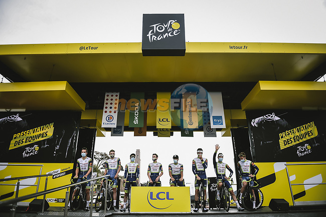 Intermarché-Wanty-Gobert Matériaux at sign on before the start of Stage 1 of the 2021 Tour de France, running 197.8km from Brest to Landerneau, France. 26th June 2021.  <br /> Picture: A.S.O./Pauline Ballet | Cyclefile<br /> <br /> All photos usage must carry mandatory copyright credit (© Cyclefile | A.S.O./Pauline Ballet)