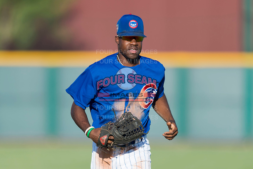 AZL Cubs 1 center fielder Edmond Americaan (22) jogs off the field between innings of an Arizona League game against the AZL Indians 1 at Sloan Park on August 27, 2018 in Mesa, Arizona. The AZL Cubs 1 defeated the AZL Indians 1 by a score of 3-2. (Zachary Lucy/Four Seam Images)