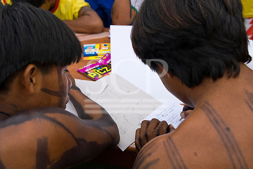 """Altamira, Brazil. """"Xingu Vivo Para Sempre"""" protest meeting about the proposed Belo Monte hydroeletric dam and other dams on the Xingu river and its tributaries. Indian camp at Bethania seminary."""