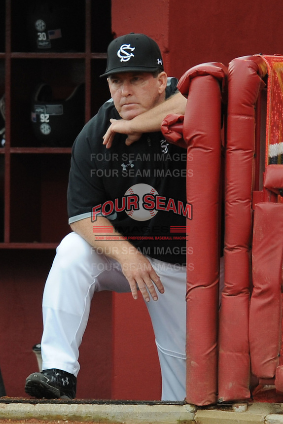 Head Coach Ray Tanner #1 of the South Carolina Gamecocks monitors his team during a game against the South Carolina Gamecocks at Carolina Stadium on March 3, 2012 in Columbia, South Carolina. The Gamecocks defeated the Tigers 9-6. Tony Farlow/Four Seam Images
