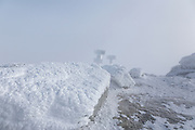 Appalachian Trail - Extreme weather conditions on the summit of Mount Lafayette during the winter months in the White Mountains, New Hampshire USA.
