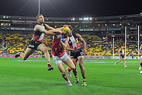 Action from the Australian Rules Football ANZAC Day match between St Kilda Saints and Brisbane Lions at Westpac Stadium, Wellington, New Zealand on Friday, 25 April 2014. Photo: Dave Lintott / lintottphoto.co.nz