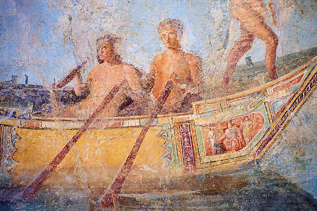 Roman Fresco with a boat decorated for a festival and marine life from the second quarter of the first century AD. (mosaico fauna marina da porto fluviale di san paolo), museo nazionale romano ( National Roman Museum), Rome, Italy. inv. 121462 .   <br /> The frescoes depict boats decorated as boats which went along the Tiber on festival days; their shape appears to be the caudicariae boats, used to transport merchandise. In the fresco fragment exhibited here (Ambiente E) the boat on the left depicts probably the group of 'side Serapide and Demetra on the stern, whereas the one on the right presents a crowned character on the bow and, on the stern, a feminine figure fluctuating in the air. Between the two boats, a young boy (a cupid or Palaimon-Portunus) rides a dolphin. All around are depicted several fish incredibly casting their shadows on the sea. The ichthyic fauna, lifeless as in still life decoration, is detailed as in a scientific catalogue. For the most part the represented species live next to the coast or were bred by the Romans in the piscinae salsac or in ponds. It is possible to recognize the rock mullet (mullus sunnuletus) and the mud one (mullus barbatu4 the scorpion fish (scorpoena) the dentex (dentex dentex), the aguglia (belone agus) the dolphin (delphinus delphis) and the golden mullet (lire curate).