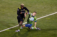 COLUMBUS, OH - DECEMBER 12: Gyasi Zardes #11 of Columbus Crew battles for the ball against Brad Smith #2 of Seattle Sounders FC during a game between Seattle Sounders FC and Columbus Crew at MAPFRE Stadium on December 12, 2020 in Columbus, Ohio.