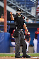 Umpire Dane Ponczak during a game between the West Virginia Black Bears and Batavia Muckdogs on June 28, 2016 at Dwyer Stadium in Batavia, New York.  Batavia defeated West Virginia 3-1.  (Mike Janes/Four Seam Images)