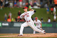 Starting pitcher Jhonathan Diaz (31) of the Greenville Drive delivers a pitch during a game against the Lexington Legends on Sunday, September 2, 2018, at Fluor Field at the West End in Greenville, South Carolina. Greenville won, 7-4. (Tom Priddy/Four Seam Images)