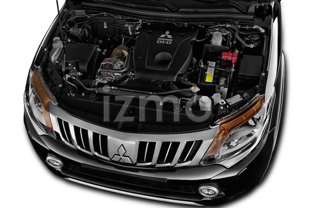Car Stock 2016 Mitsubishi L 200 Intense 4 Door Pickup Engine  high angle detail view