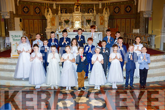 The children from Gaelscoil Aogain Castleisland who received their First Holy Communion in St Stephens and Johns church on Saturday