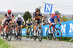 Alexander Kristoff (NOR) UAE Team Emirates and Belgian Champion Dries De Bondt (BEL) Alpecin Fenix climb the Paterberg during the 2021 Tour of Flanders running 254.3km from Antwerp to Oudenaarde, Belgium. 4th April 221.  <br /> Picture: Serge Waldbillig | Cyclefile<br /> <br /> All photos usage must carry mandatory copyright credit (© Cyclefile | Serge Waldbillig)