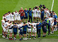The England team have a post match huddle after their victory over Canada during the Autumn International match between England and Canada at Twickenham Stadium, London, England on 10 July 2021. Photo by Liam McAvoy.