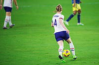 ORLANDO, FL - JANUARY 18: Becky Sauerbrunn #4 of the USWNT dribbles the ball during a game between Colombia and USWNT at Exploria Stadium on January 18, 2021 in Orlando, Florida.