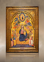 Gothic altarpiece of Madonna Of Humility With The Eternal Father In Glory, by Cenni di Francesco di Ser Cenni of Florence, circa 1375-80, tempera and gold leaf on wood. The Madonna and Child are depicted with the 12 apostles. National Museum of Catalan Art, Barcelona, Spain, inv no: MNAC  212805. Against a art background.