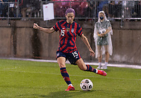 EAST HARTFORD, CT - JULY 1: Megan Rapinoe #15 of the USWNT crosses the ball during a game between Mexico and USWNT at Rentschler Field on July 1, 2021 in East Hartford, Connecticut.
