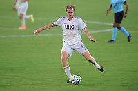 WASHINGTON, DC - AUGUST 25: Henry Kessler #4 of New England Revolution moves the ball during a game between New England Revolution and D.C. United at Audi Field on August 25, 2020 in Washington, DC.