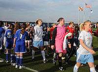 Washington Freedom and Chicago Red Stars teams entering the field.  Washington Freedom tied Chicago Red Stars 1-1 at The Maryland SoccerPlex, Saturday April 11, 2009.
