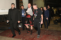 George Groves leaves the arena with an arm injury after defeating Chris Eubank Jr during a Boxing Show at the Manchester Arena on 17th February 2018